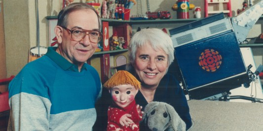 CANADA - JANUARY 29: Ernie Coombs and puppeteer Judith Lawrence with puppets Casey and his dog Finnegan. Coombs is surprised the show lasted more than two years. (Photo by Ron Bull/Toronto Star via Getty Images)