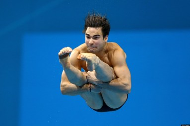 LONDON, ENGLAND - AUGUST 07: Alexandre Despatie of Canada competes in the Men's 3m Springboard Diving Final on Day 11 of the London 2012 Olympic Games at the Aquatics Centre on August 7, 2012 in London, England. (Photo by Al Bello/Getty Images)