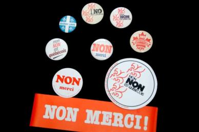 Buttons and bumper stickers from the 1980 Quebec sovereignty vote.