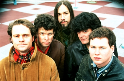 NEW YORK, NY- FEBRUARY 1992: TheTragically Hip (clockwise L) lead singer Gordon Downey, guitarist Gord Sinclair, guitarist Rob Baker, bassist Paul Langlois and drummer Johnny Fay pose for a February 1992 portrait in New York City, New York. (Photo by Bob Berg/Getty Images)